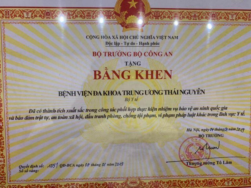 Bệnh viện Trung ương Thái Nguyên vinh dự nhận Bằng Khen trong công tác bảo đảm an ninh, trật tự trong lĩnh vực y tế
