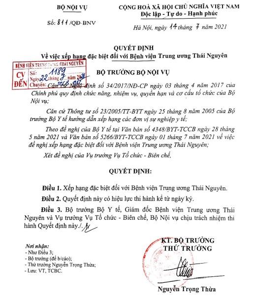 Quyết định về việc xếp hạng đặc biệt đối với Bệnh viện Trung Ương Thái Nguyên